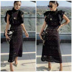 Zara lace ruffle midi dress